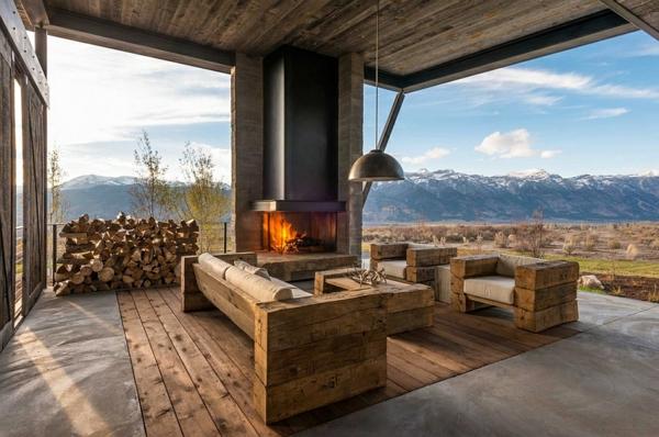 Moderne holzmöbel  Hinreißende Berghütte im modernen, zeitgenössischen Stil