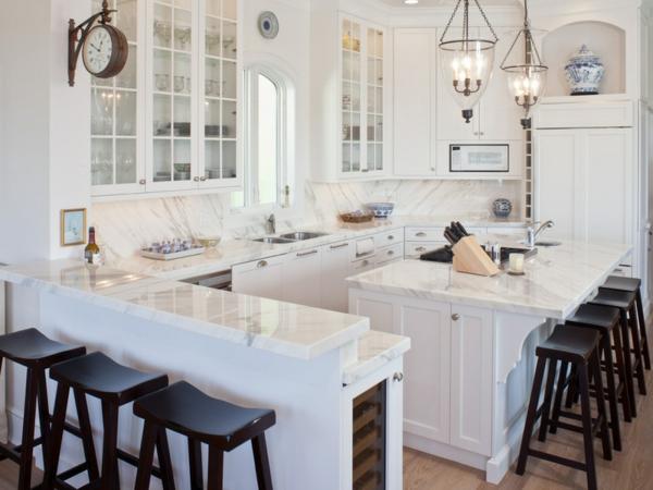 traditionell weiß küche marmor hochglanz einrichten Moderne weiße Küchen