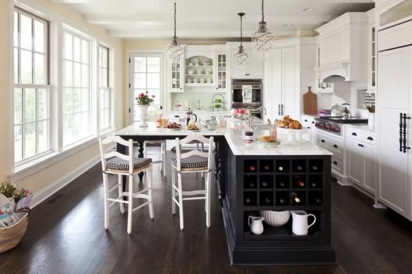 traditionelle küche ideen wein lagern kücheninsel stauraum
