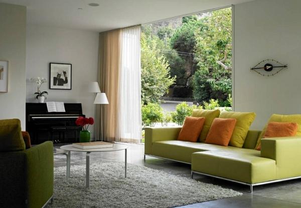 trendy wohnzimmer einrichten Coole Gardinen Ideen gardinen natur garten