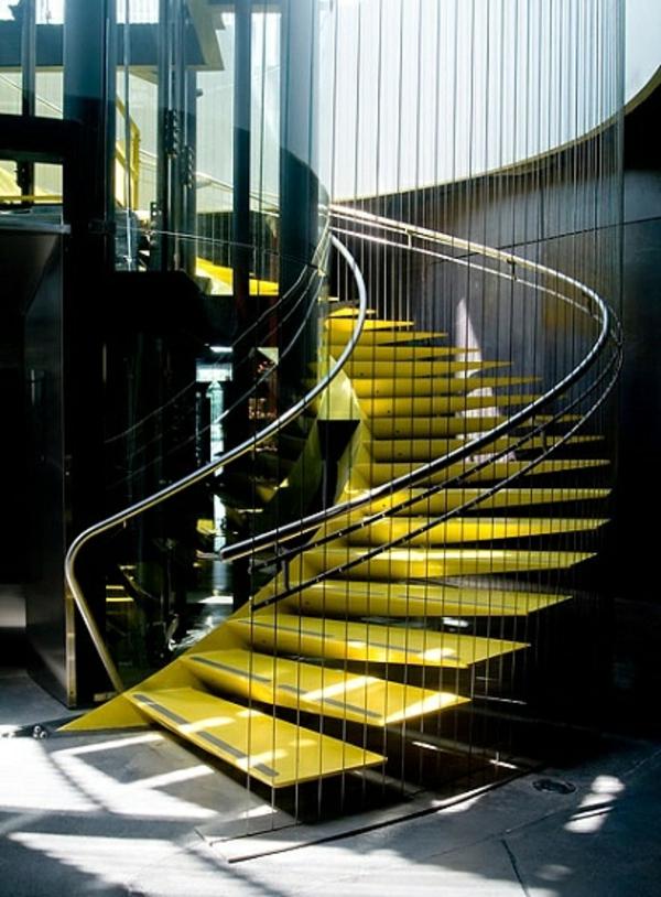 treppenhaus modern gelb schwarz