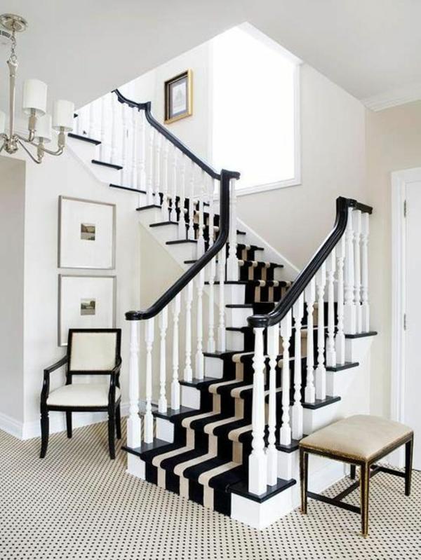 treppenhaus treppenteppiche schwarz-weiß design