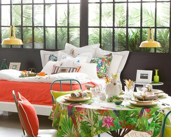 tropische dekoideen design farbig schlafzimmer tisch tischdecke