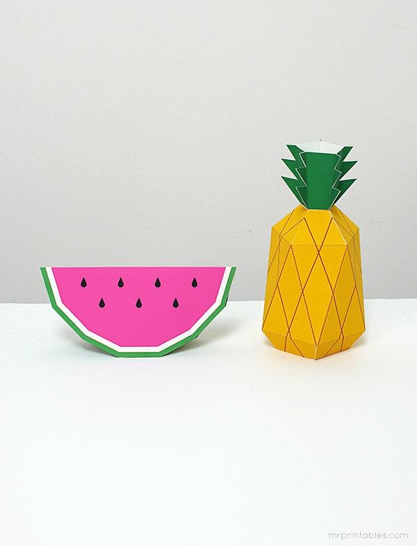 tropische dekoideen wassermelone ananas motive