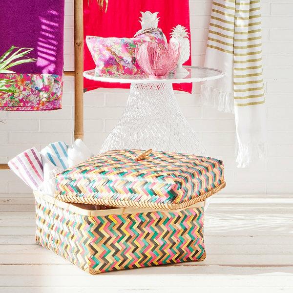 tropische design dekoideen sommer farbig korb dekokissen