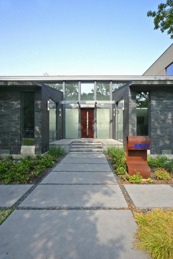 vorgarten hausnummer design briefkasten moderne architektur