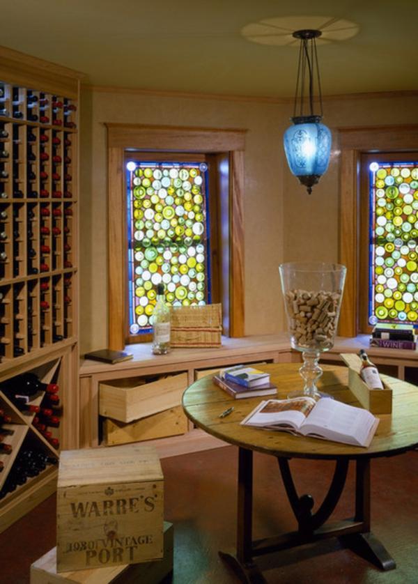 vorhänge und gardinen ideen farbglas flaschenglas