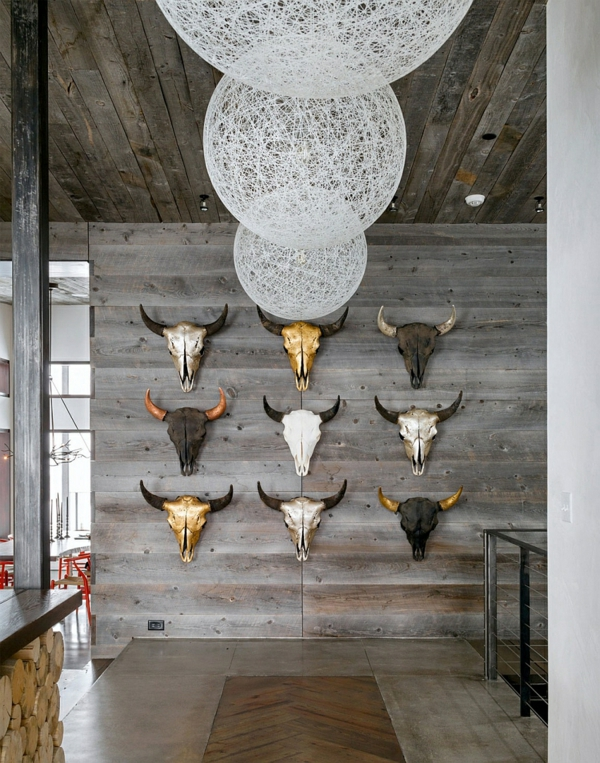 wand art ideen berghütte interior design