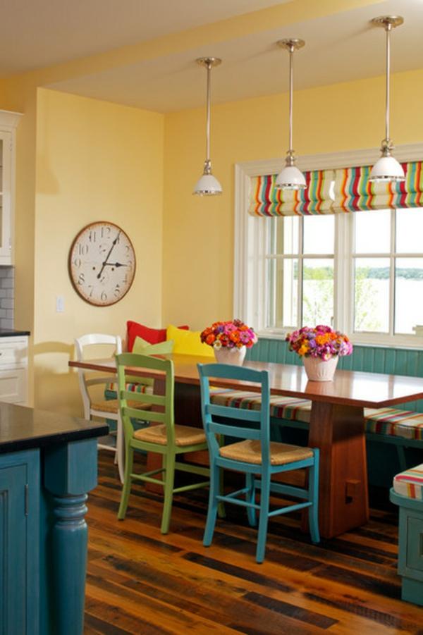 wandfarbe esszimmer gelb farbgestaltung wände streichen