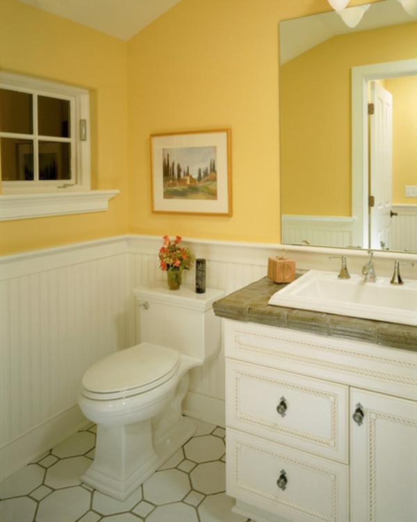 wandfarbe gelb farbgestaltung bad badezimmer toilette wände streichen