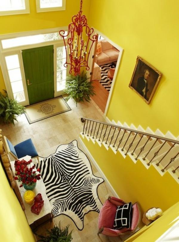 wandfarbe gelb farbgestaltung flur treppenhaus wände streichen