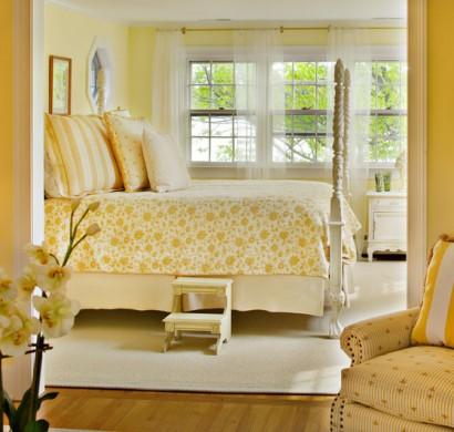 wandfarbe gelb- farbgestaltung ideen in der frischen warmen farbnuance, Schlafzimmer design
