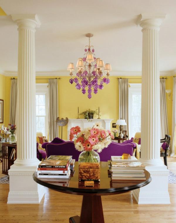 wandfarbe gelb wohnzimmer  farbgestaltung wände streichen säulen