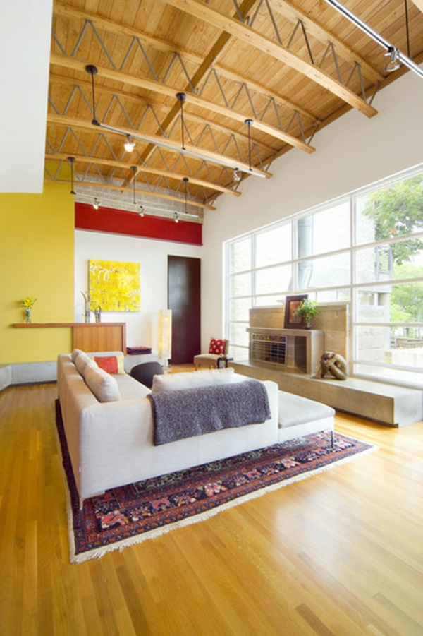 wohnzimmer wandfarbe gelb farbgestaltung wände streichen