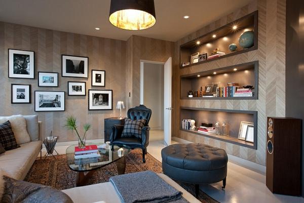 wandgestaltung chevronmuster wohnzimmer design