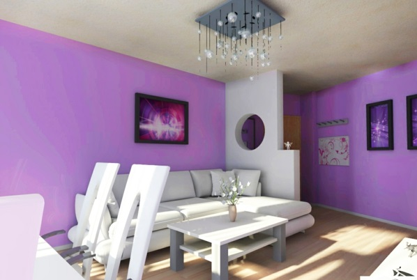 wandgestaltung farben lila bemalt