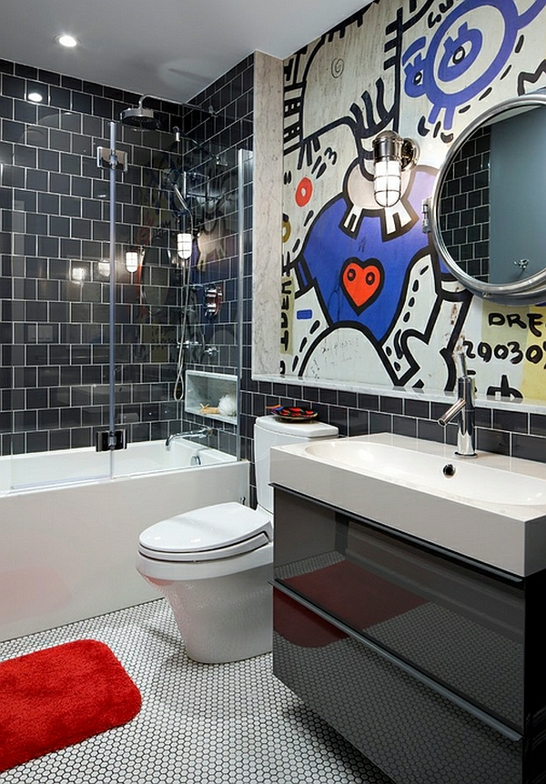 wandgestaltung fototapete wand fliesen badezimmer ideen bilder badmbel schwarz wei - Badezimmer Ideen Wei