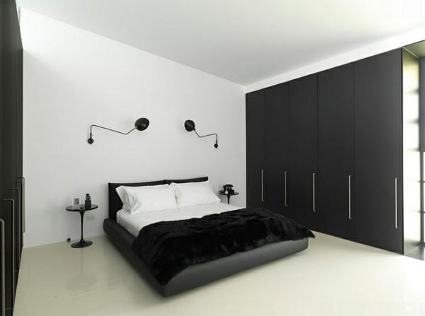 wandlampen futuristisch schlafzimmer minimalistisch einrichten schwarz