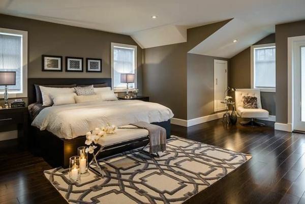 warme farben für schlafzimmer großraum bett