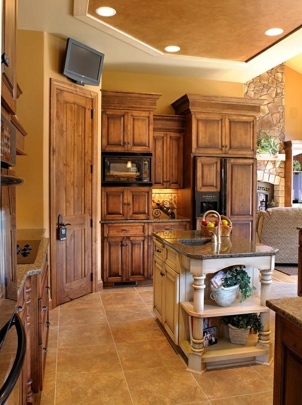 warme farben ideen im wohnzimmer holzmöbe