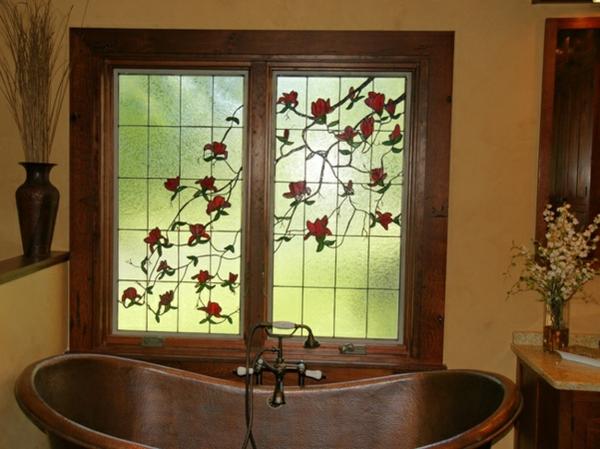 warme farbgestaltung badezimmer farbglas wanne