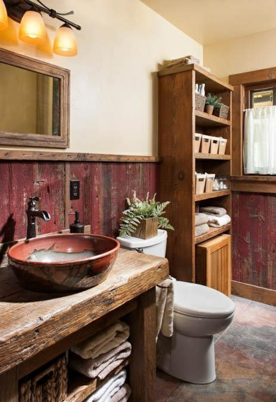 waschbecken badmöbel rustikal badezimmer landhausstil holzregal