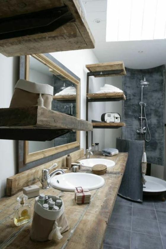 waschbecken holzplatte rustikale badmöbel holzregale fliesenboden