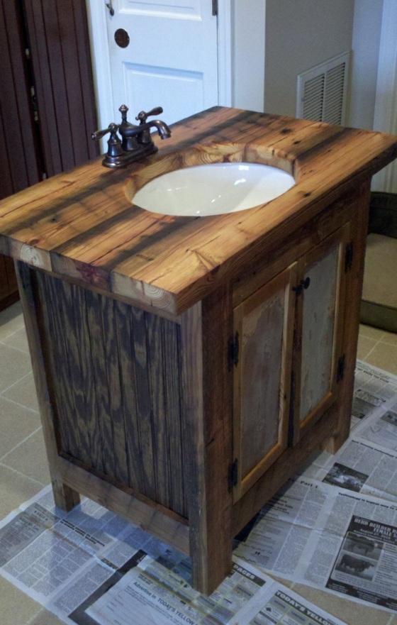 waschbecken mit unterschrank rustikale badezimmer möbel ideen