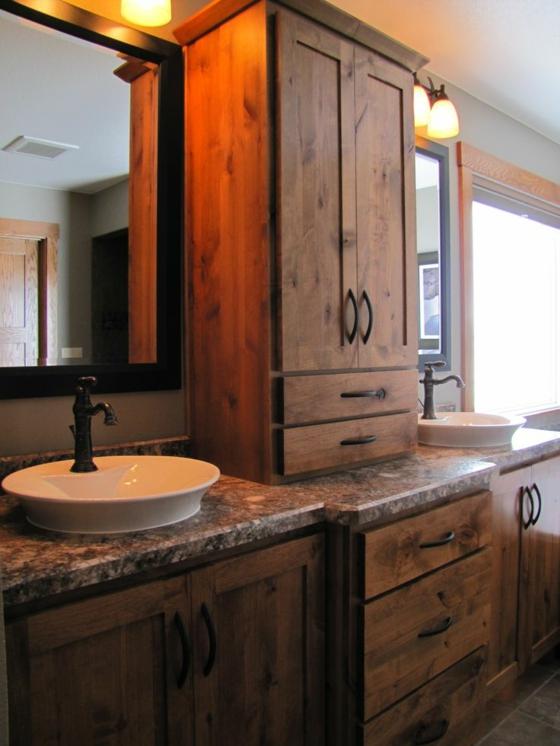 waschbecken rustikale badmöbel holzeinrichtung badezimmer schränke aus holz