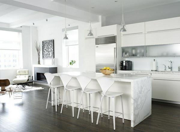 weiß marmor kücheninsel hocker lehnen leuchten