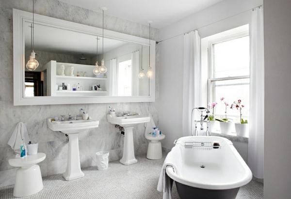weiße beistelltische badewanne klassisch marmor waschbecken