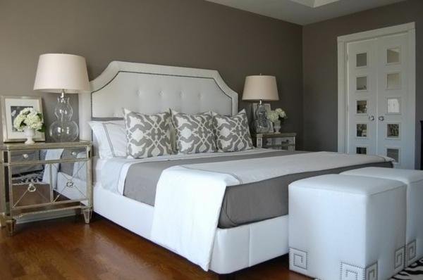 Schwarz Weis Schlafzimmer Wandfarbe bohemian style fr romantisches schlafzimmer in wei und schwarz Weie Ledermbel Schlafzimmer Design Wandfarbe