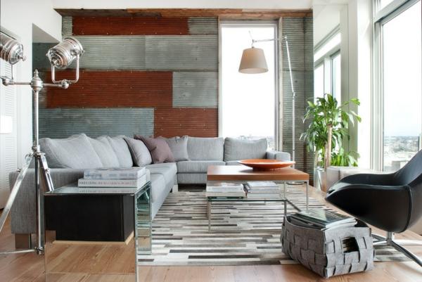 wellblech an der wand sofa dekokissen stehlampen einrichtungsideen