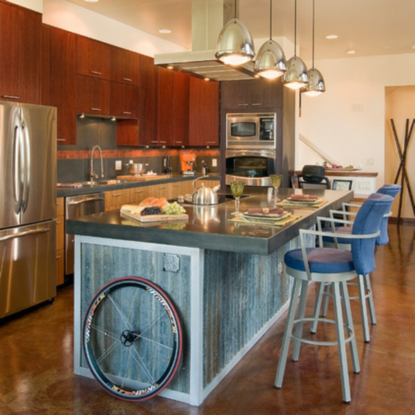 wellblech dekoideen in der küche kücheninsel pendelleuchten