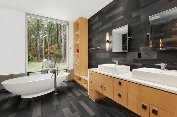 wohnideen bad wandgestaltung bodenbelag badmöbel aus holz