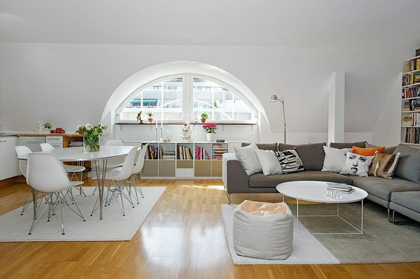 Wohnideen Dach Wohnzimmer Gewlbtes Fenster Sofa Tisch
