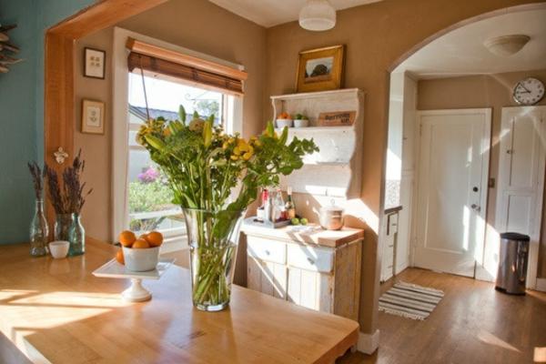 wohnideen küche holzmöbeln warme wandfarben