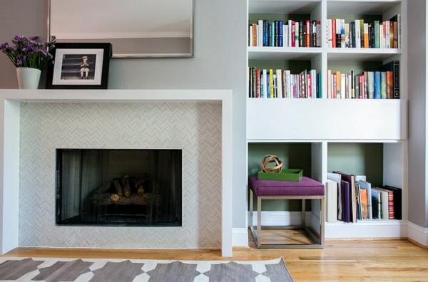 wohnideen wohnzimmer interior design feuerstelle fischgrätenmuster