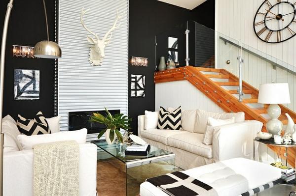 wohnideen wohnzimmer interior design geometrische motive dekokissen