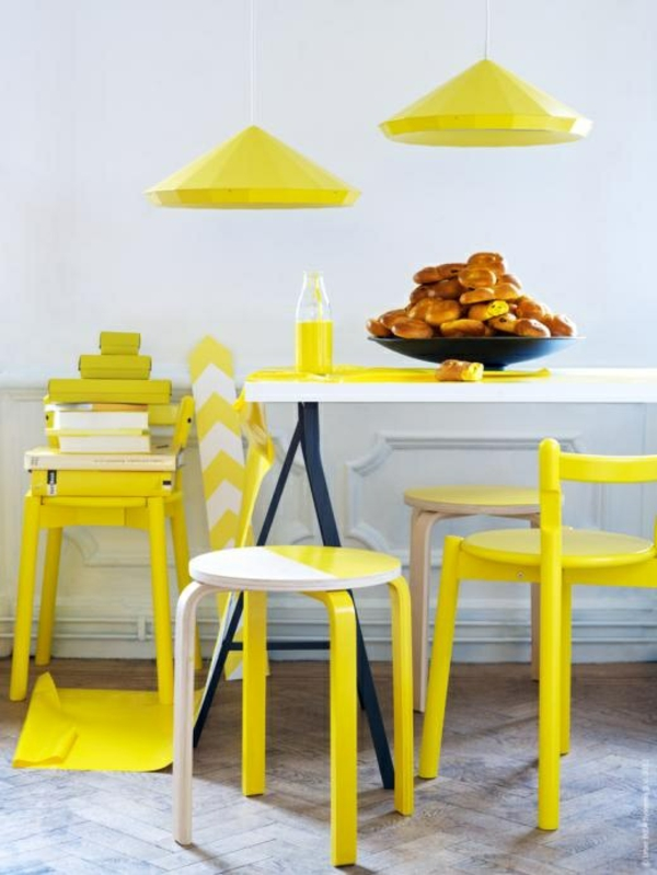 wohnung einrichtung ideen gelb esszimmer