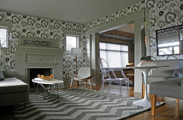wohnzimmer design ideen chevron muster teppich wandgestaltung