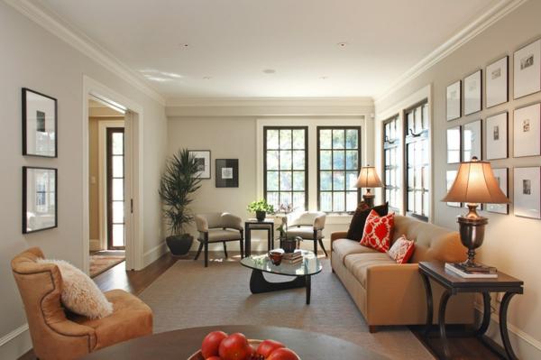 wohnzimmer design ideen schwarze akzente sofa