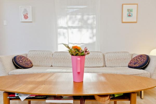 wohnzimmer ideen sofa couchtisch aus holz mit stauraum