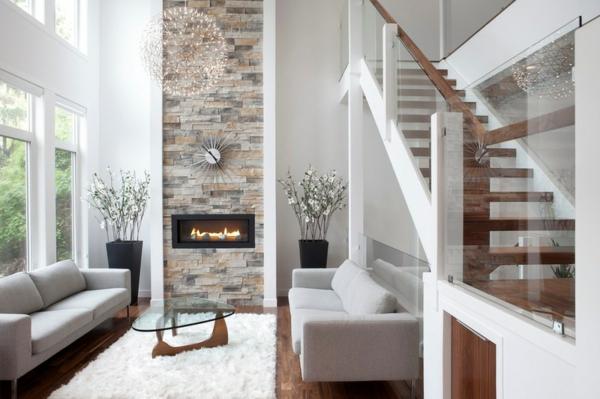 Dekoideen wohnzimmer wand : Wohnzimmer deko steinwand wohnzimmer ideen ...