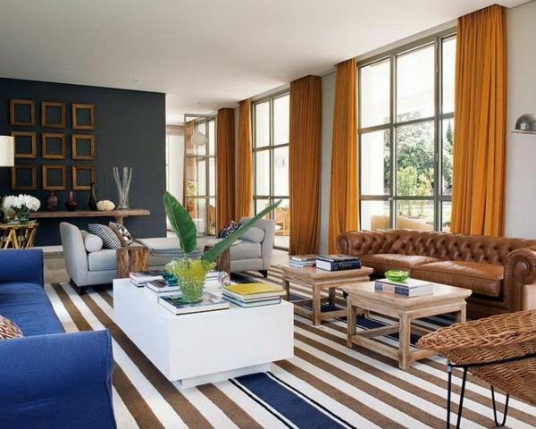 wohnzimmer ideen wandfarbe gardinen vorhänge gelb fensterdeko schiebegardinen