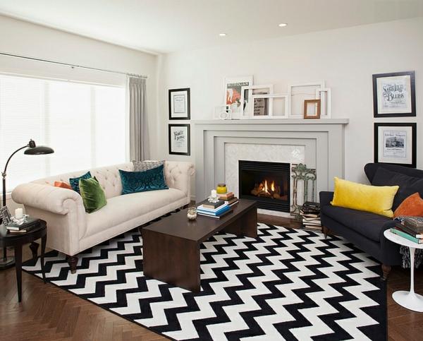 wohnzimmer design fischgräten muster teppich