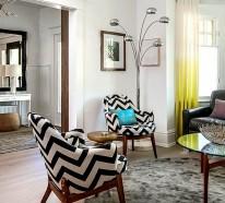 Smarte Anwendung von Chevron Mustern im Wohnzimmer