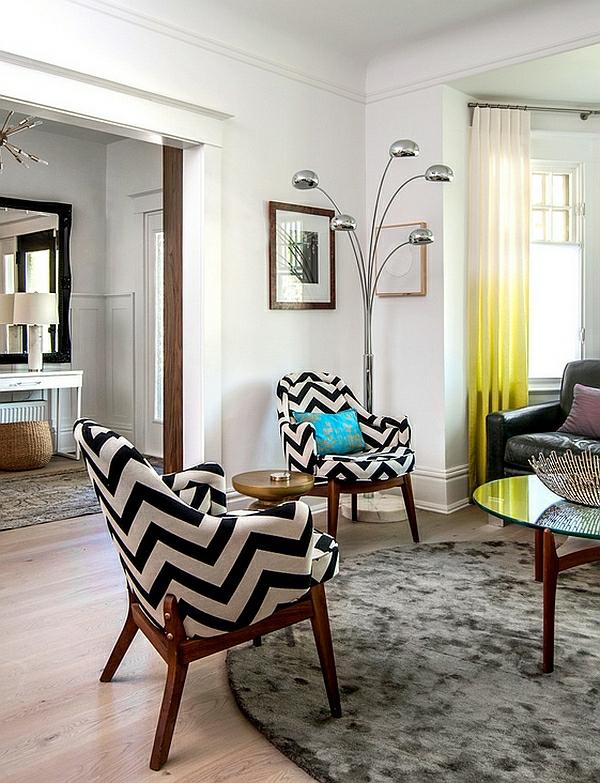 wohnzimmer interior design chevronmuster