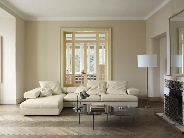 wohnzimmer interior design fischgrätmuster sofa