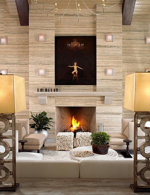 wohnzimmer interior design ideen fischgrätenmuster kamin